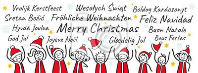 Weihnachtsgrüße In Verschiedenen Sprachen.Fototapete Jubelnde Strichmännchen In Nikolauskostümen Banner Weihnachtsgruß
