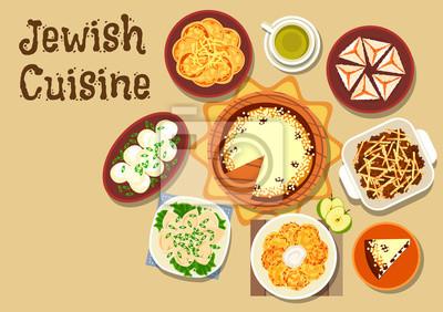 Jüdische Küche   Judische Kuche Abendessen Mit Dessert Symbol Fototapete