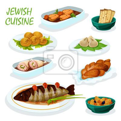 Jüdische küche-symbol für festliche abendessen menü-design ...