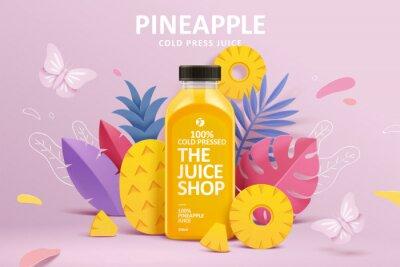 Fototapete Juice ad in 3d paper cut design
