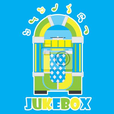 Jukebox und musikalische notiz auf blauem hintergrund vektor-cartoon ...