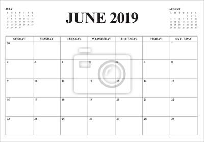 Fototapete June 2019 desk calendar vector illustration