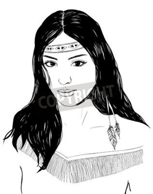 Junge Amerikanische Indische Frau Portrait Hand Gezeichnete