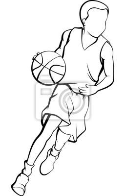 Junge, der einen Basketball-Entwurf tröpfelt