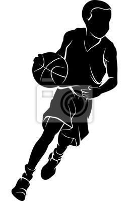 Junge, der einen Basketball tröpfelt