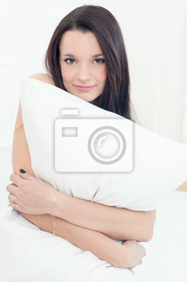 Junge Frau Im Bett Mit Einem Kissen Auf Der Suche Ausgeruht