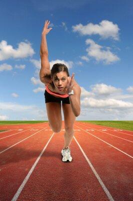 Fototapete Junge Frau Sprinten
