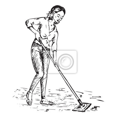 Junge Hausfrau Waschen Den Boden Mit Mop Hand Gezeichnet Doodle