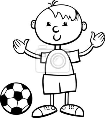 Junge mit ball-cartoon malvorlagen fototapete • fototapeten Kicker ...