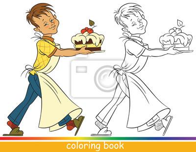 Junge Mit Einem Kuchen Malbuch Oder Ausmalbilder Für Kinder