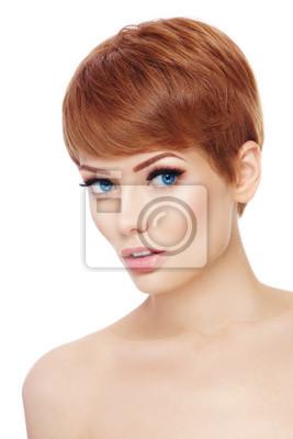 Fototapete Junge Schone Gesunde Frau Mit Stilvollen Make Up Und Haare Schneiden