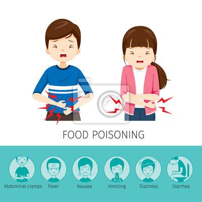 Junge und mädchen bauchschmerzen, weil lebensmittel vergiftung ...