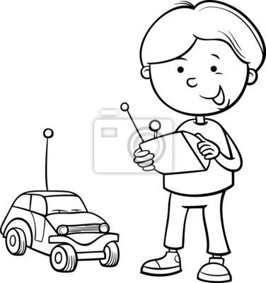 Junge und remote-auto färbung seite fototapete • fototapeten ...