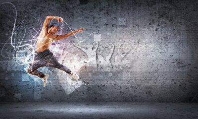 Fototapete junger Mann tanzt Hip-Hop mit Farblinien