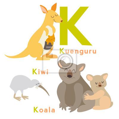 K Buchstabe Tiere gesetzt. Englisches Alphabet. Vektor-Illustration, isoliert auf weißem Hintergrund