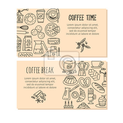 Kaffee-design-vorlagen. vektor-banner. fototapete • fototapeten ...