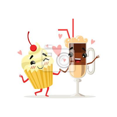 Kaffee Latte Und Kleiner Kuchen Mit Kirsche An Der Spitze Nette