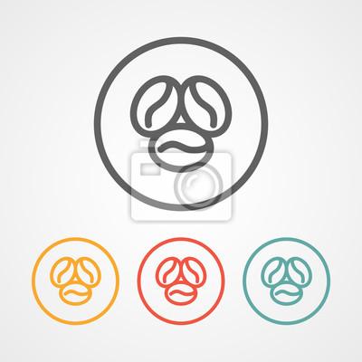 Kaffee-strich-logo mit verschiedenen farben fototapete • fototapeten ...