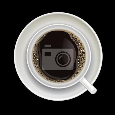 Kaffee-Tasse auf einem schwarzen isoliert