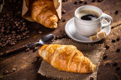 Fototapete Kaffee und Croissant
