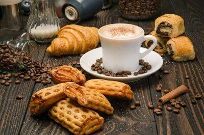 Fototapete Kaffee und Gebäck