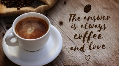 Fototapete Kaffee-Zitat