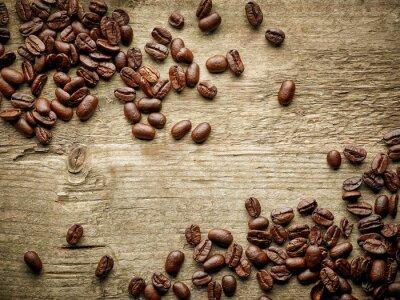 Fototapete Kaffeebohnen auf Holztisch