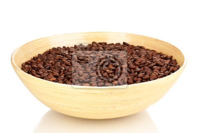 Kaffeebohnen In Bambus Schussel Isoliert Auf Weiss Fototapete