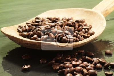 Fototapete Kaffeebohnen über Holz Löffel