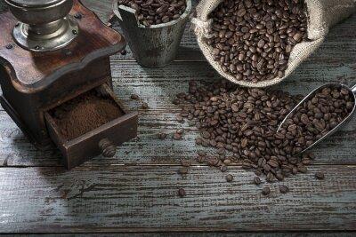 Fototapete Kaffeebohnen und Schleifer von oben