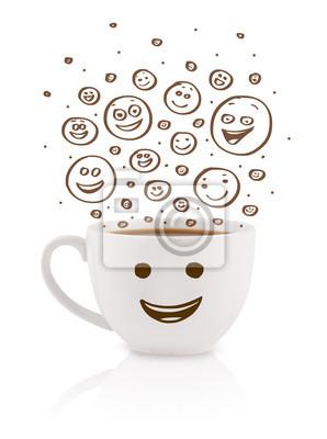 Kaffeetasse Mit Braun Hand Gezeichnet Glücklich Smiley Gesichter