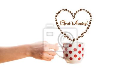Kaffeetasse Mit Kaffeebohnen Geformt Herz Mit Guten Morgen