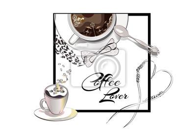 Kaffeetasse Mit Löffel Und Geige Cafe Musik Hand Gezeichnet