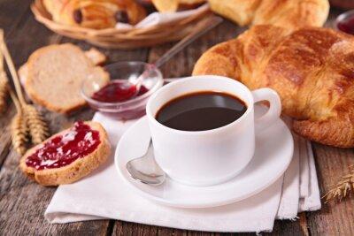 Fototapete Kaffeetasse und Croissant