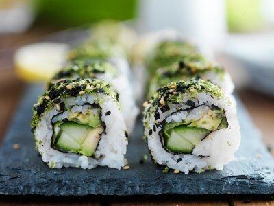 Fototapete Kale, Avocado und Gurkensushi