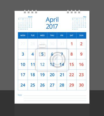 Kalender 2017. schreibtisch kalender april (mit märz und mai ...