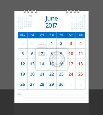 Schreibtisch Kalender Juni (mit Mai Und Juli) Layout Vorlage Vektor