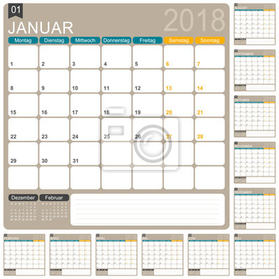 Kalender 2018 / deutsche kalender vorlage, satz von 12 monaten ...
