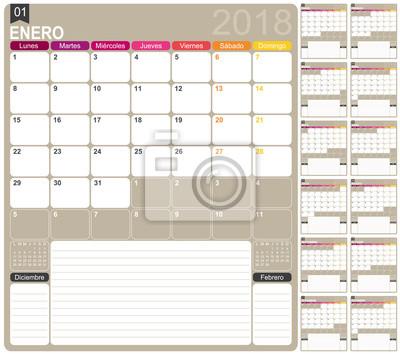 Kalender 2018 / spanische kalendervorlage für das jahr 2018 ...