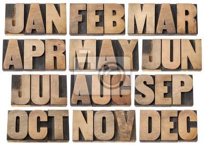 Kalender-Konzept - Monate im Holz-Art