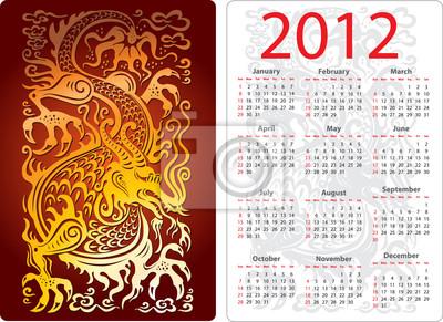 Kalender mit Drachen
