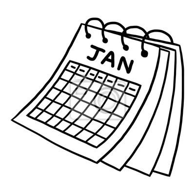 Fototapete Kalender von Januar / Cartoon Vektor und Illustration, schwarz und weiß, Hand gezeichnet, Skizze Stil, isoliert auf weißem Hintergrund.