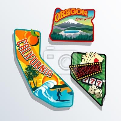 Kalifornien, Oregon, Nevada Vereinigte Staaten retroillustrationen