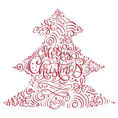 Weihnachten Bilder Mit Text.Fototapete Kalligraphische Beschriftung Des Frohen Weihnachten Vector Text