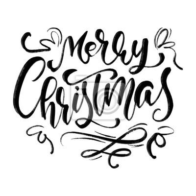 Schriftart Weihnachten.Fototapete Kalligraphischer Beschriftungstext Des Frohen Weihnachten Vektor