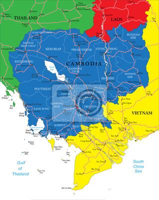 Kambodscha Karte.Fototapete Kambodscha Karte