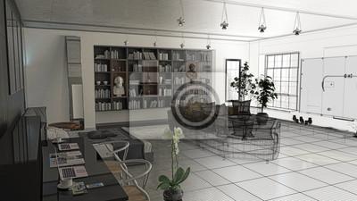 Kamera da letto con libreria, sala e divano openspace, lusso ...