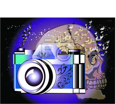 Kamera totenkopf-design fototapete • fototapeten Linie thai ...