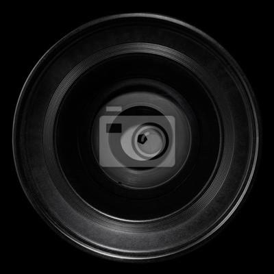 Kameraobjektiv auf schwarz, Clipping-Pfad enthalten