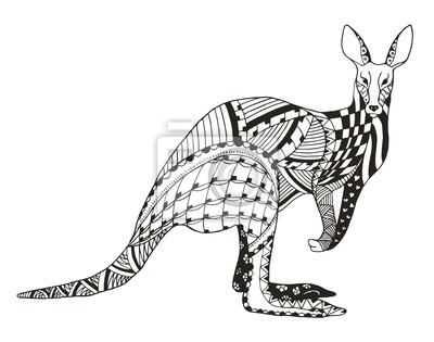 Kangaroo zentangle stilisiert, vektor, illustration, freihandstift ...